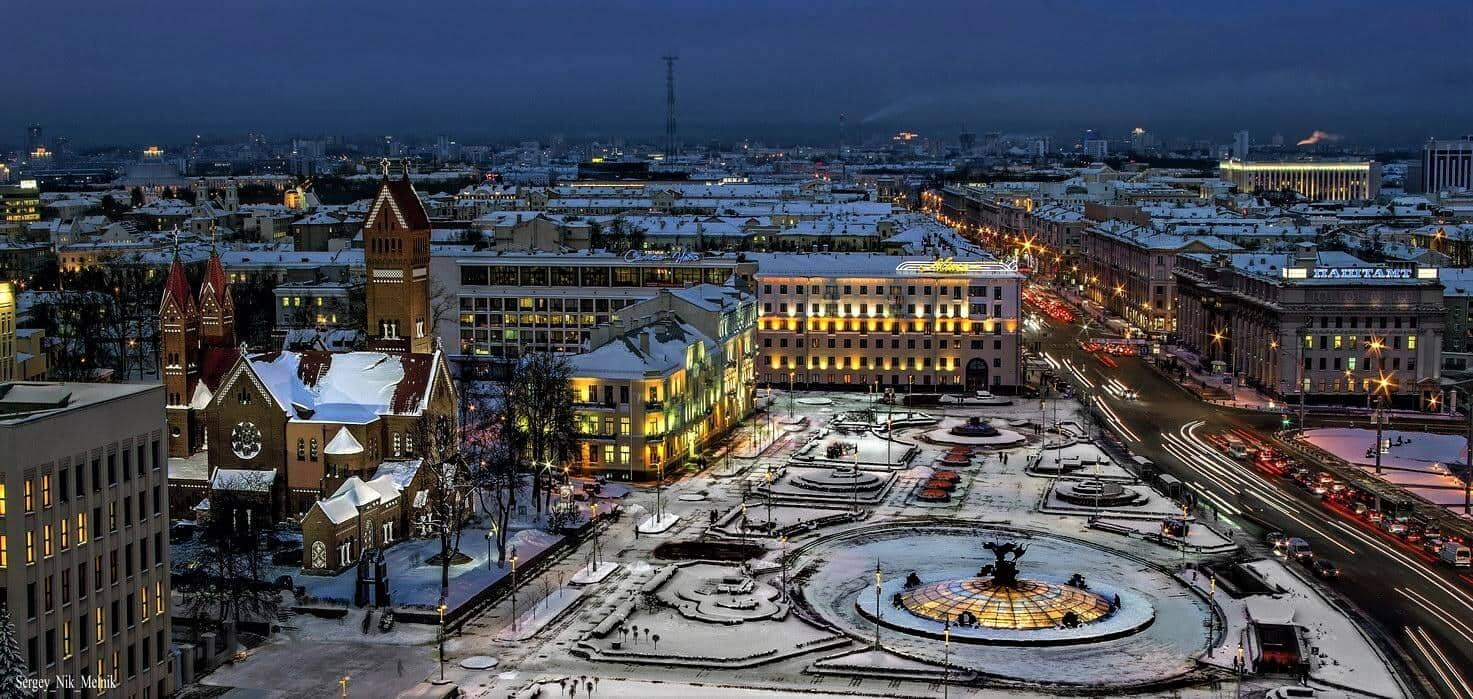 Independence square in Minsk in winter