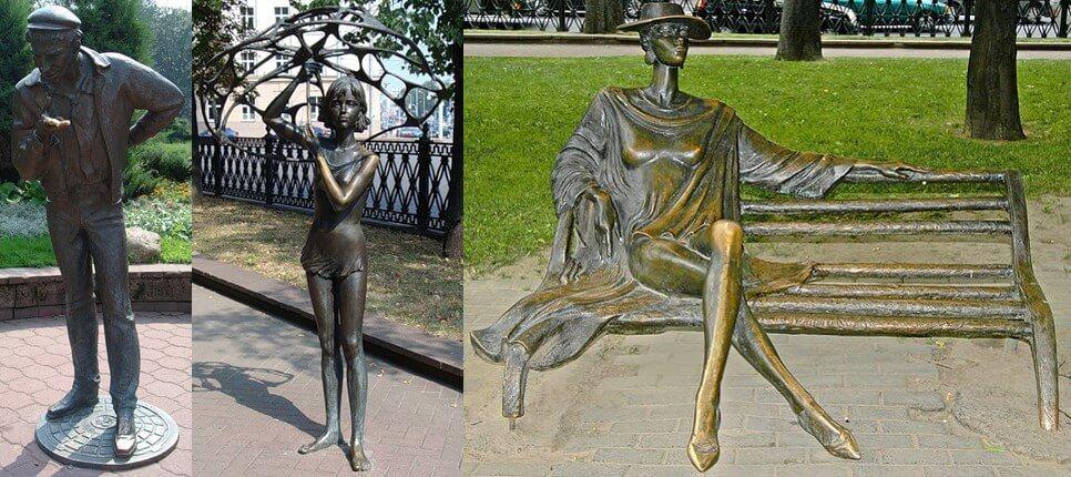 Скульптуры в Михайловском сквере