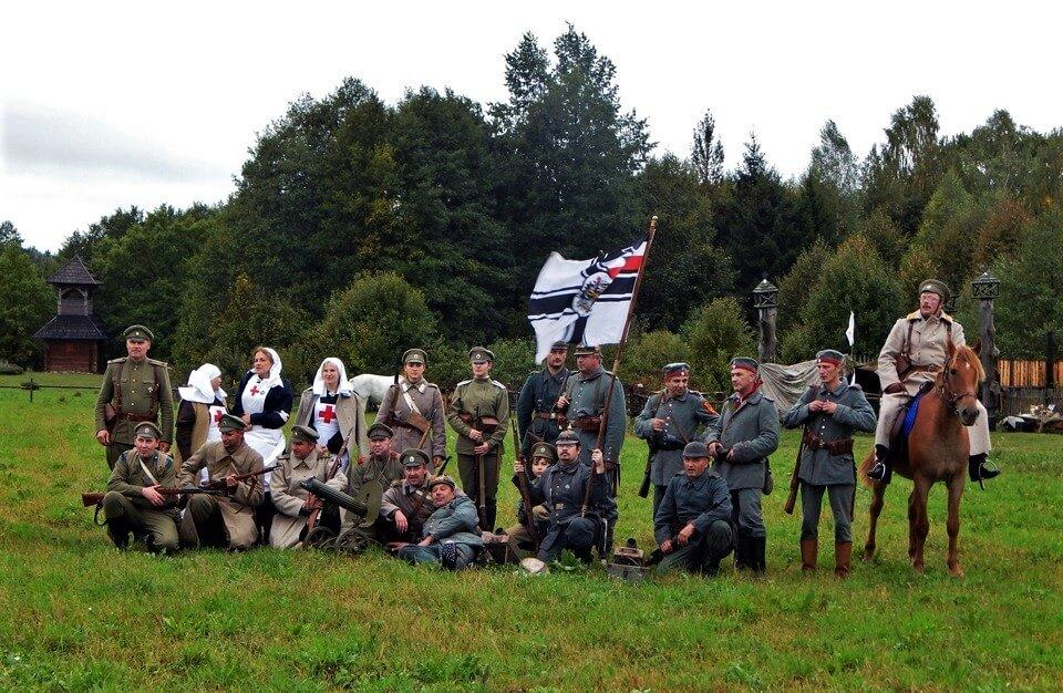 First World War battle reconstruction participants in military uniform