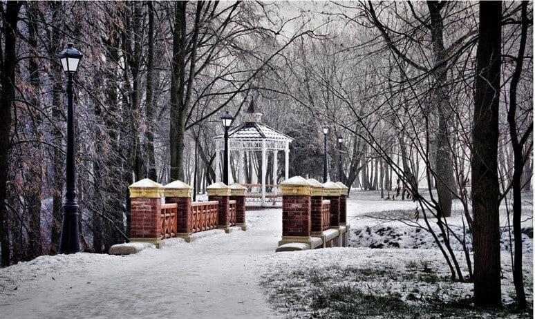 Мостик в парке зимой