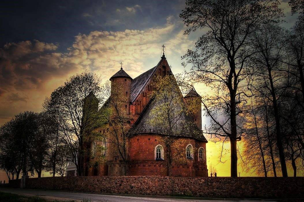 Synkovichi Church on the sunset