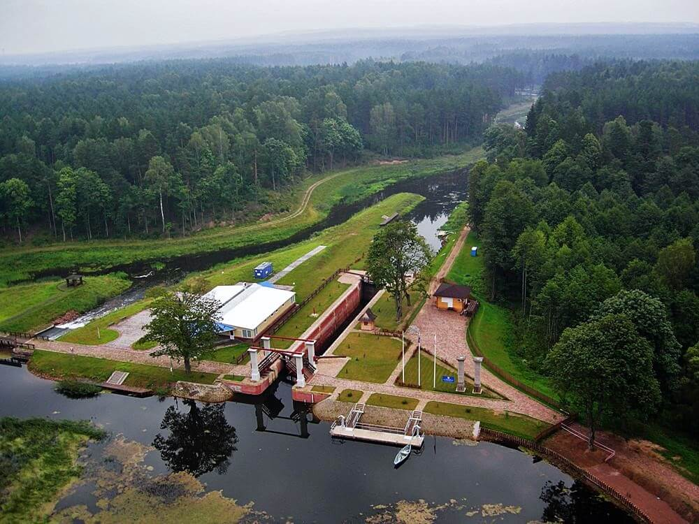 Augustow Canal from the bird eye view Belarus