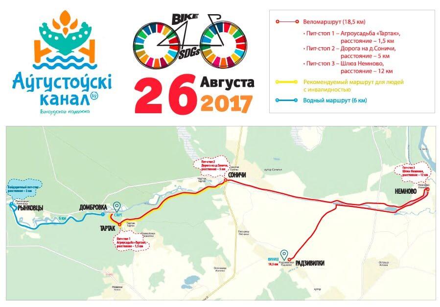 Карта велопробега вдоль Августовского канала на праздник, отдых на канале