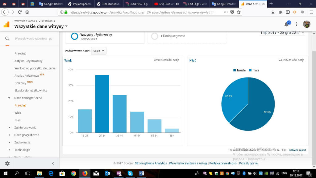 Analytics and demographics of website visitors on Visit-Belarus.com website