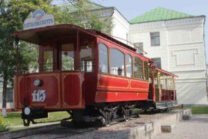 Tram in the tram museum of Vitebsk, travel guide