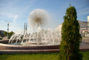 Fountain on the Victory square in Vitebsk