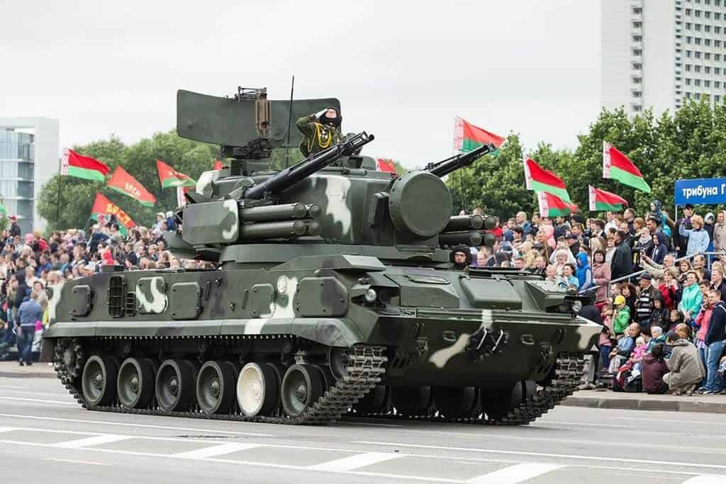 Tank on Independence day parade in Belarus in summer